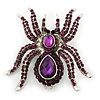 Large Purple Crystal Spider Brooch In Rhodium Plating - 55mm Length