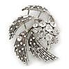 Vintage Diamante 'Whirlwind' Brooch In Burn Silver - 7cm Width