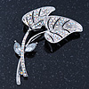 Anniversary AB Swarovski Crystal 'Double Leaf' Brooch In Rhodium Plating - 65mm Length