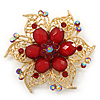 Filigree Red Crystal And Acrylic Bead Flower Brooch In Bright Gold Tone Metal - 60mm Diameter