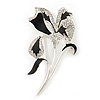 Black/ Silver Tone Clear Swarovski Crystal 'Calla Lilly' Brooch - 75mm Length