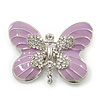 Pale Lavender Enamel Clear Crystal 'Butterfly' Brooch In Rhodium Plating - 47mm Width
