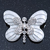 White Enamel Clear Crystal 'Butterfly' Brooch In Rhodium Plating - 47mm Width