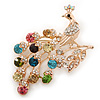 Large Multicoloured Swarovski Crystal 'Peacock' Brooch In Gold Plating - 70mm Width