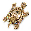 Stunning AB/ Champagne Swarovski Crystal &#039;Turtle&#039; Brooch In Gold Plating - 62mm Length