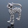 Adorable Diamante 'Cat' Brooch In Rhodium Plating - 4cm Length
