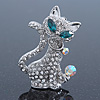 Cute 'Cat' With Green Eyes, Crystal Collar & Ball Brooch In Rhodium Plating - 43mm Length