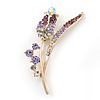 Gold Plated Purple/ Clear Crystal 'Rose' Brooch - 55mm Length