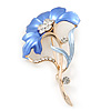 Violet Blue Enamel Diamante 'Flower' Brooch In Gold Plating - 55mm Length