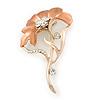 Coral Enamel Diamante 'Flower' Brooch In Gold Plating - 55mm Length