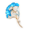 Azure Blue Enamel Diamante 'Flower' Brooch In Gold Plating - 55mm Length