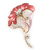 Pink/Coral Enamel Diamante 'Flower' Brooch In Gold Plating - 55mm Length