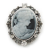 Burn Silver Vintage Cameo Brooch/ Pendant (Grey/ Clear) - 50mm Across