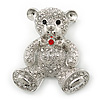 Rhodium Plated Crystal Teddy Bear With Bow&amp;Heart Brooch - 45mm Across