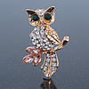 Cute Crystal &#039;Owl&#039; Brooch In Gold Plating - 40mm Across
