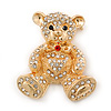Gold Plated Crystal Teddy Bear With Bow&Heart Brooch - 45mm Across
