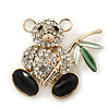 Cute Crystal &#039;Teddy Bear&#039; Brooch In Gold Plating - 32mm Length
