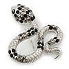 Sleek Black/ Hematite Crystal 'Snake' Brooch In Rhodium Plating - 55mm Width