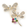 Double Diamante Butterfly Brooch In Gold Plating - 45mm Length
