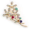 Multicoloured Crystal Floral Brooch In Gold Plating - 60mm Length