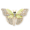 Dazzling Diamante /Pale Green Enamel Butterfly Brooch In Gold Plaiting - 70mm Width