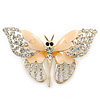 Dazzling Diamante /Magnolia Enamel Butterfly Brooch In Gold Plaiting - 70mm Width