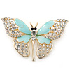 Dazzling Diamante/ Pale Blue Enamel Butterfly Brooch In Gold Plaiting - 70mm Width