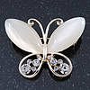 Milky White Cat's Eye Stone/ Diamante Butterfly Brooch In Gold Plating - 40mm Width