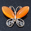 Orange Cat's Eye Stone/ Diamante Butterfly Brooch In Gold Plating - 40mm Width
