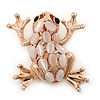 Pale Pink Opal 'Frog' Brooch In Rose Gold Tone - 38mm Length
