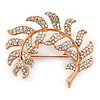 Rose Gold Plated Clear Swarovski 'Leaf' Brooch - 47mm Width