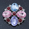 Statement Multicoloured Glass Bead Square Brooch In Rhodium Plating - 45mm Width