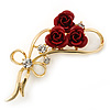 Triple Red Rose Diamante Brooch In Gold Plating - 55mm Across