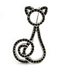 Jet Black Swarovski Crystal 'Cat' Brooch In Rhodium Plating - 50mm Length