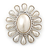 Vintage Inspired Rhodium Plated Simulated Pearl, Crystal Oval Brooch - 55mm Across