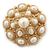 Bridal Vintage Inspired White Simulated Pearl 'Dome' Brooch In Gold Plating - 47mm Diameter
