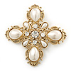Large Vintage Inspired Simulated Pearl, Crystal 'Cross' Brooch In Gold Plating - 75mm Across