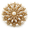 Bridal Vintage Inspired White Simulated Pearl, Swarovski Crystal Layered Floral Brooch In Gold Plating - 50mm Diameter