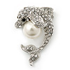 Clear Crystal 'Dolphin With Simulated Pearl Ball' Brooch In Rhodium Plating - 37mm Length