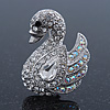Pave Set Clear, AB Austrian Crystal Graceful 'Swan' Brooch In Rhodium Plating - 35mm Length