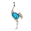 Rhodium Plated Teal, Clear Crystal 'Ostrich' Brooch - 70mm Length