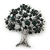 Dark Green Crystal 'Tree Of Life' Brooch In Gun Metal Finish - 52mm Length