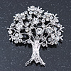 Clear Crystal 'Tree Of Life' Brooch In Rhodium Plating - 52mm Length