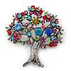 Multicoloured 'Tree Of Life' Brooch In Gun Metal Finish - 52mm Length
