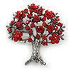 Siam Red Crystal 'Tree Of Life' Brooch In Gun Metal Finish - 52mm Length