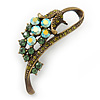 Vintage Inspired AB, Green Austrian Crystal 'Grapes' Brooch In Bronze Tone - 44mm Length