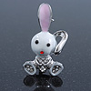 Cute White Enamel, Crystal 'Bunny' Brooch In Rhodium Plating - 42mm Length