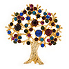 Multicoloured Crystal 'Tree Of Life' Brooch In Gold Plated Metal - 52mm L