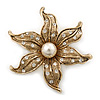 Gold Plated Textured, Crystal, Simulated Pearl 'Flower' Brooch - 55mm Width