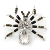 Clear/ Grey Crystal, Black Enamel 'Spider' Brooch In Rhodium Plating - 40mm Width